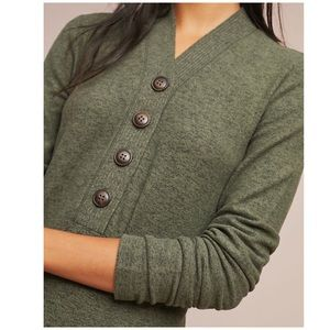 Anthropologie Buttoned Brushed Fleece Pullover M